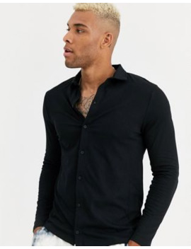 Asos Design Organic Long Sleeve Jersey Shirt In Black by Asos Design