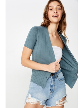 Quinnie Half Sleeve Button Through Cardi by Cotton On
