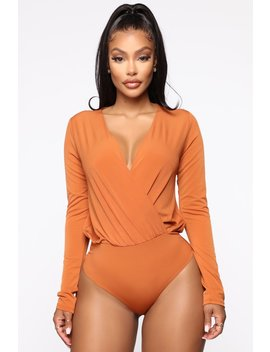 Small Little Lies Surplice Bodysuit   Rust by Fashion Nova