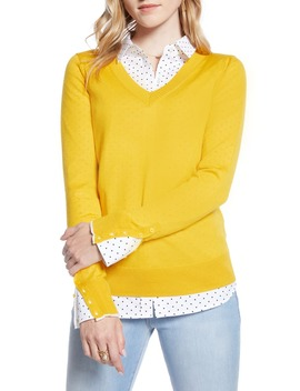 V Neck Merino Wool Blend Sweater by 1901