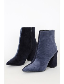 Addicott Blue And Navy Corduroy Two Tone Ankle Booties by Lulu's