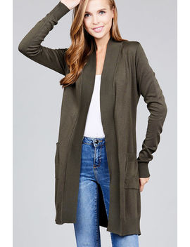 Women Basic Long Cardigan Open Front Draped Sweater Long Length Rib Banded W/ Pockets by Ab