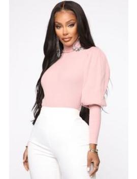 Easy On You Turtleneck Bodysuit   Pink by Fashion Nova