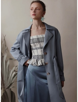 Darcy Trench Dusty Blue by Petite Studio