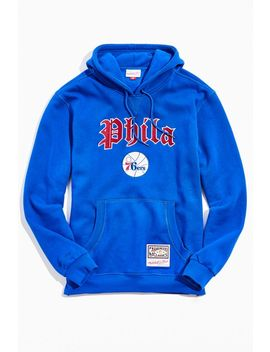 Mitchell & Ness Old English Philadelphia 76ers Hoodie Sweatshirt by Mitchell & Ness
