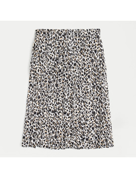 Petite Pleated Midi Skirt In Leopard by J.Crew