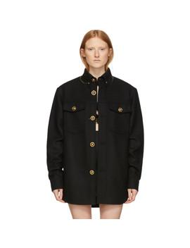 Black Wool Felt Jacket by Versace