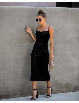 Worth The Wait Velvet Midi Slip Dress   Black by Vici