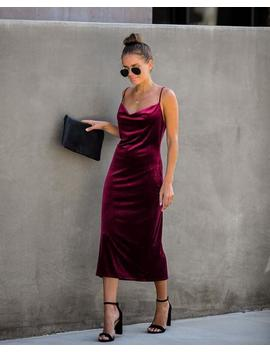 Worth The Wait Velvet Midi Slip Dress   Wine by Vici