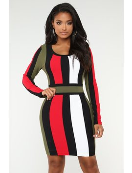 Tell Me You Love Me Stripe Dress   Olive by Fashion Nova