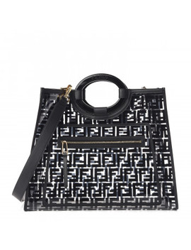 Fendi Tpu Ff Medium Glass Runaway Shopper Tote Black by Fendi