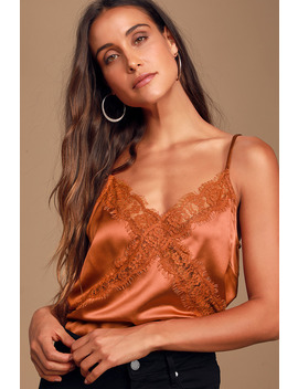 Sweetest Kiss Rust Orange Satin Lace Cami Top by Lulus