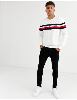 Tommy Hilfiger Casper Crew Knit Sweater In White by Tommy Hilfiger