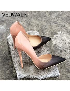 Veowalk Brand Gradient Colors Women Fashion D'orsay High Heels Elegant Ladies Pointed Toe Evening Dress Stilettos Pumps Shoes by Ali Express.Com