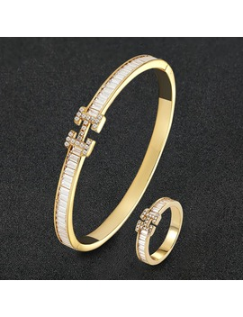 Zlxgirl Luxury Brand Aaa Cubic Zircon Letter Bangle With Ring Jewelry Sets Metal Copper Micro Pave Setting Bangle Sets Free Bags by Ali Express.Com