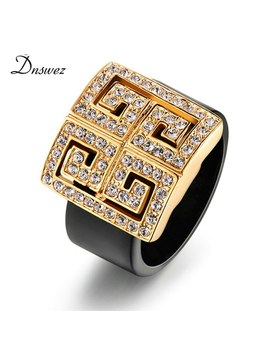 Dnswez New Arrival Classic Rings Cubic Zircon & Crystals Setting Totem Black Acrylic Fashion Jewelry Ring For Women R510 R511 by Ali Express.Com