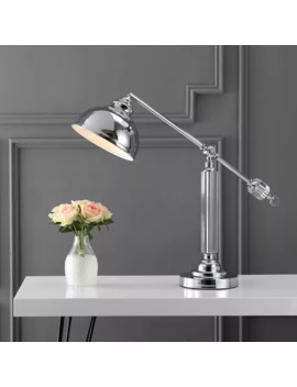 "Giselle 22"" Metal And Crystal Led Task Lamp, Chrome/Clear By Jonathan Y by Jonathan Y"