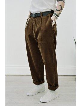 Evan Kinori Organic Cotton Corduroy Single Pleat Pant   Golden Brown by Garmentory