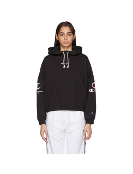 Black Logo High Neck Hoodie by Champion Reverse Weave
