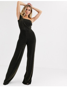 Missguided Exclusive One Shoulder Jumpsuit In Gold Glitter by Missguided's