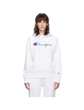 White Big Script Logo Hoodie by Champion Reverse Weave