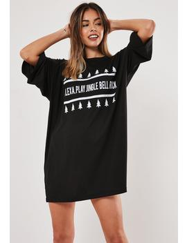 Black Oversized Jingle Bell Night Dress by Missguided
