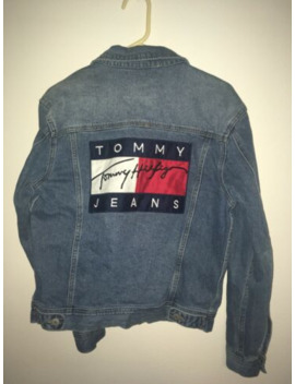 Mens Vintage Tommy Hilfiger Denim Jean Jacket Size Small Big Flag by Tommy Hilfiger