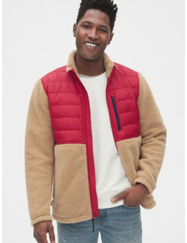 Mix Fabric Sherpa Full Zip Jacket by Gap