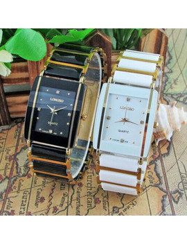 2016 New Diamonds Elegant Men Ladies Wristwatches Analog Quartz Ceramic Steel Square Longbo Watch Couple Lover Luxury Gift Watch by Ali Express.Com