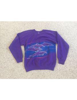Vintage Neon Pastel Purple Dolphin Sweatshirt San Segal Sportswear 90's 50/50 by Ebay Seller