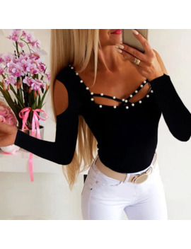 Women T Shirt Tops Autumn Long Sleeve T Shirt Solid Black Beading Slim Tee Shirt For Lady Hollow Out Female Tshirt Tops D35 by Ali Express.Com