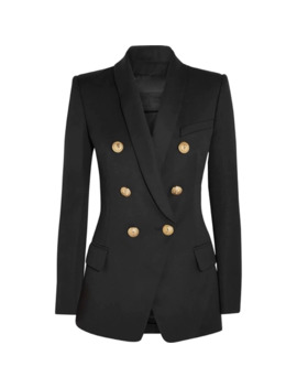 2018 Autumn Winter Black Office Jacket Women Runway Designer Double Breasted Gold Buttons Ladies Formal Jacket Coat Clothes by Ali Express.Com