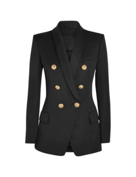 High Street New Fashion 2019 Designer Blazer Women's Long Sleeve Double Breasted Metal Lion Buttons Long Blazer Outer Wear by Ali Express.Com