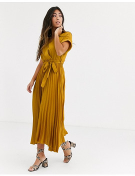 New Look Petite Satin Pleated Midi Dress In Dark Yellow by New Look