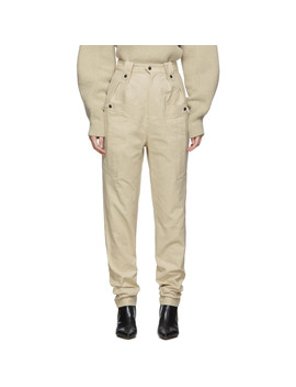 Beige Tapered Yerris Trousers by Isabel Marant