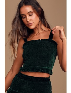 Soft Whisper Forest Green Velvet Smocked Crop Top by Lulus