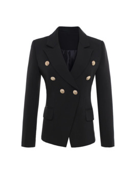 High Quality New Fashion 2019 Runway Style Women's Gold Buttons Double Breasted Blazer Outerwear Plus Size S Xxxl by Ali Express.Com