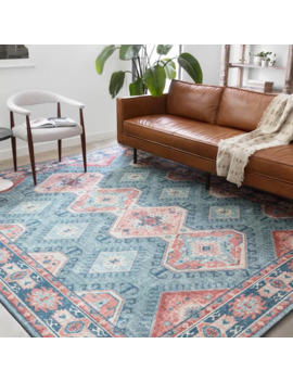 """alexander-home-leanne-traditional-distressed-printed-area-rug---76""""-x-96""""---turquisoe_terracotta by alexander-home"""