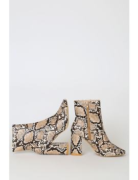 My Generation Tan Snake High Heel Mid Calf Boots by Lulu's