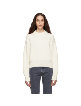 Off White Wool & Cotton Sweater by Helmut Lang