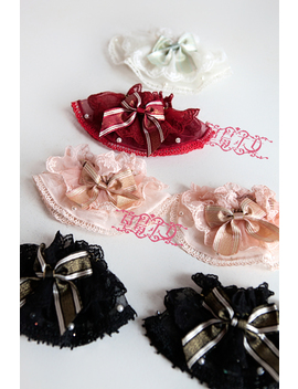 Sweet Lace Over Sleeves/Bracelets With Striped Bow by Ali Express.Com
