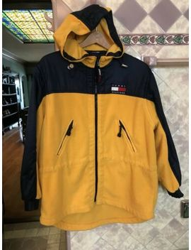 Vintage Tommy Hilfiger Athletics Fleece Hoodie Jacket Mens Size M Yellow Blue by Tommy Hilfiger