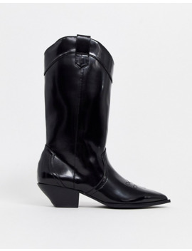 Asos Design Capricorn Western Pull On Knee Boots In Black by Asos Design