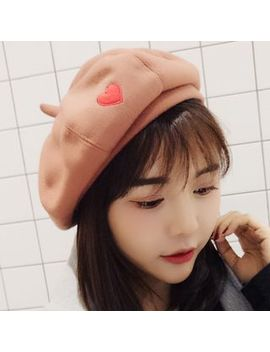 Oktokki   Heart Embroidered Beret by Oktokki