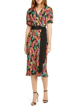 Autumn Floral Micropleat Short Sleeve Dress by Dvf
