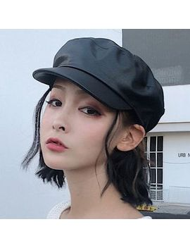 Oktokki   Faux Leather Newsboy Cap by Oktokki