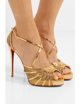 Filamenta 120 Metallic Leather And Mesh Sandals by Christian Louboutin