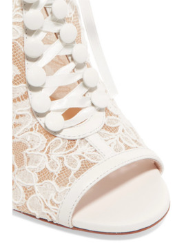Mariée A Colmar 100 Guipure Lace And Leather Ankle Boots by Christian Louboutin