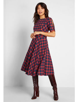 Make The Upgrade Plaid A Line Dress by Royal Monk