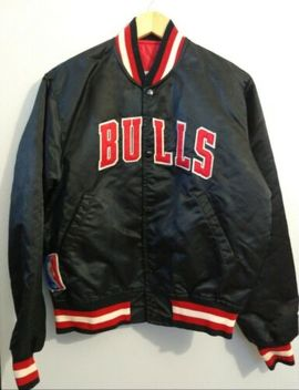 Vintage Starter Jacket 90 Chicago Bulls Size Medium Color Black Nba by Starter